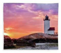 Pastel Sunset, Annisquam Lighthouse Fleece Blanket