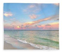 Pastel Sunset On Sanibel Island Fleece Blanket
