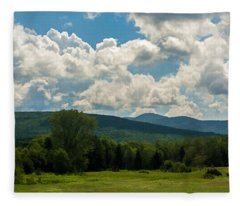 Pastoral Landscape With Mountains Fleece Blanket