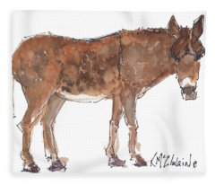 Pasture Boss 2015 Watercolor Painting By Kmcelwaine Fleece Blanket