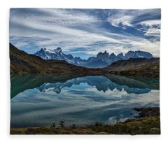 Patagonia Lake Reflection - Chile Fleece Blanket