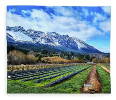 Landscape With Mountains And Farmlands In The Argentine Patagonia Fleece Blanket