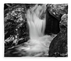 Patch Of Light On Rocks In Black And White Fleece Blanket