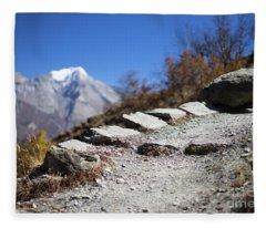Path And Peak In The Himalaya Mountains, Annapurna Region, Nepal Fleece Blanket
