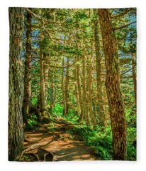 Path In The Trees Fleece Blanket