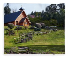 Rustic Church Surrounded By Trees In The Argentine Patagonia Fleece Blanket