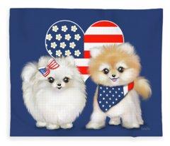 Patriotic Pomeranians Fleece Blanket