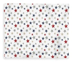 Patriotic Stars Red White Blue Repeating Pattern Vector Fleece Blanket