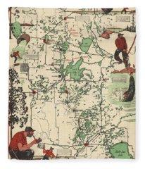 Paul Bunyan's Playground - Northern Minnesota - Vintage Illustrated Map - Cartography Fleece Blanket