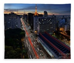 Paulista Avenue And Masp At Dusk - Sao Paulo - Brazil Fleece Blanket