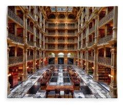 Peabody Library - Johns Hopkins University Fleece Blanket