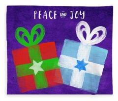 Peace And Joy- Hanukkah And Christmas Card By Linda Woods Fleece Blanket