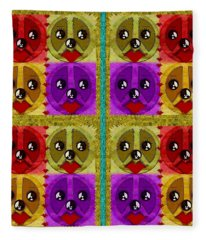 Peace Dogs Fleece Blanket