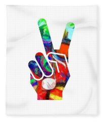 Fleece Blanket featuring the digital art Peace Hippy Paint Hand Sign by Edward Fielding