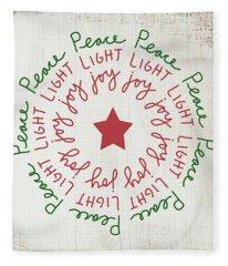 Peace Light Joy Wreath- Art By Linda Woods Fleece Blanket