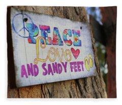 Peace Love And Sandy Feet Fleece Blanket