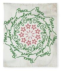 Peace Love Joy Wreath- Art By Linda Woods Fleece Blanket