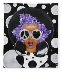 Peace, Love, Polka Dots Fleece Blanket