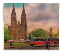 Peace Square Prague Fleece Blanket