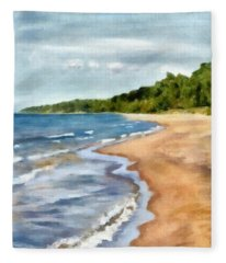Peaceful Beach At Pier Cove Ll Fleece Blanket