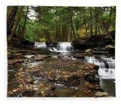 Peaceful Flowing Falls Fleece Blanket