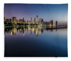 Peaceful Summer Dawn Scene On Chicago's Lakefront Fleece Blanket
