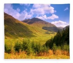 Peaceful Sunny Day In Mountains. Rest And Be Thankful. Scotland Fleece Blanket