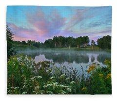 Peaceful Sunrise At Lake. Altai Fleece Blanket