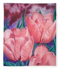 Perennially Perfect  Peach Pink Tulips Fleece Blanket