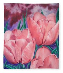 Perennially Perfect  Peach Pink Tulips Fleece Blanket