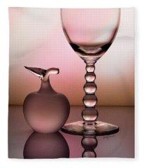 Peach Striped Glassware Reflection Fleece Blanket