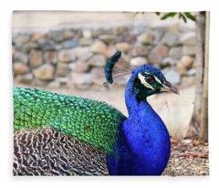 Pretty Proud Peacock Fleece Blanket