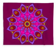 Peacock Fractal Flower II Fleece Blanket