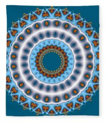 Peacock Fractal Mandala I Fleece Blanket