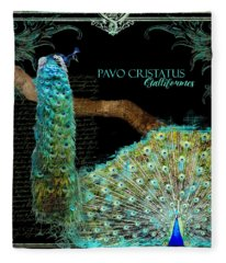 Peacock Pair On Tree Branch Tail Feathers Fleece Blanket