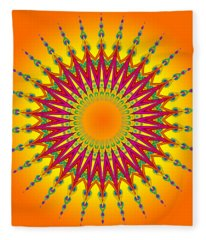 Peacock Sun Mandala Fractal Fleece Blanket