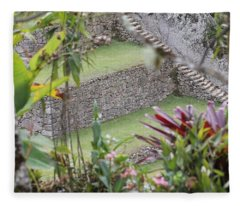 Peeking In At Machu Picchu Fleece Blanket
