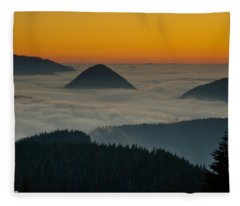 Peaks Above The Fog At Sunset Fleece Blanket