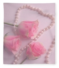 Pearls And Roses Fleece Blanket