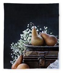 Pears And Baby's Breath Fleece Blanket