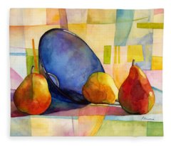 Pears And Blue Bowl Fleece Blanket