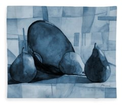 Pears And Blue Bowl On Blue Fleece Blanket