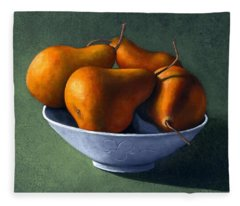 Pears In Blue Bowl Fleece Blanket