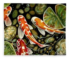 Pebbles And Koi Fleece Blanket