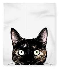 Peeking Cat Fleece Blanket
