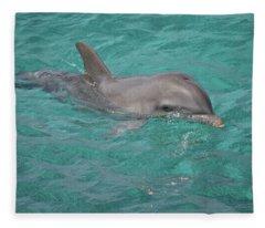 Peeking Dolphin Fleece Blanket
