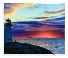 Peggy's Cove Lighthouse Fleece Blanket