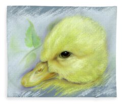 Pekin Duckling Portrait Fleece Blanket