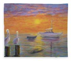 Pelican Bay Sunset Fleece Blanket
