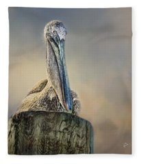 Pelican In Paradise Squared Fleece Blanket